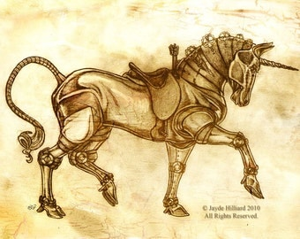 Fantasy Steampunk Mechanical Unicorn Sketch Art Print