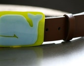 Fused Glass Belt Buckle with Whale in Bright Green and Pale Blue