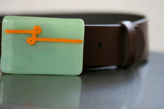 Fused Glass Belt Buckle with Mint Green and a pumpkin orange knot