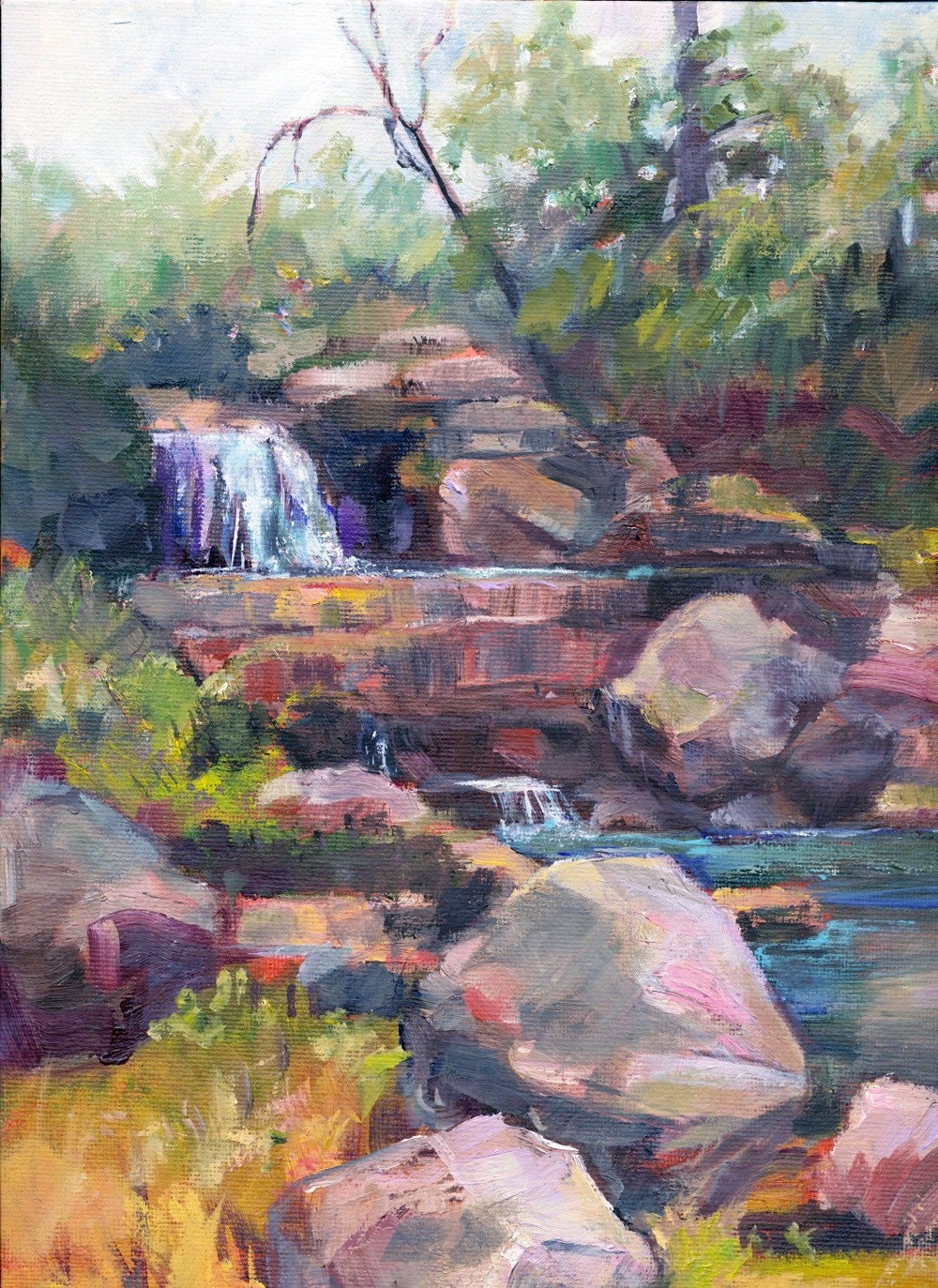 Original Oil Painting Waterfall And Rocks By Marty Husted