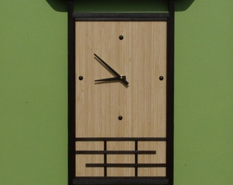Japanese-style Bamboo Wall Clock Large, Unique Clock
