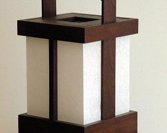 Japanese-style Shoji Lamp - Alder/Expresso Stain,Shoji Lamp, Japanese Lamp