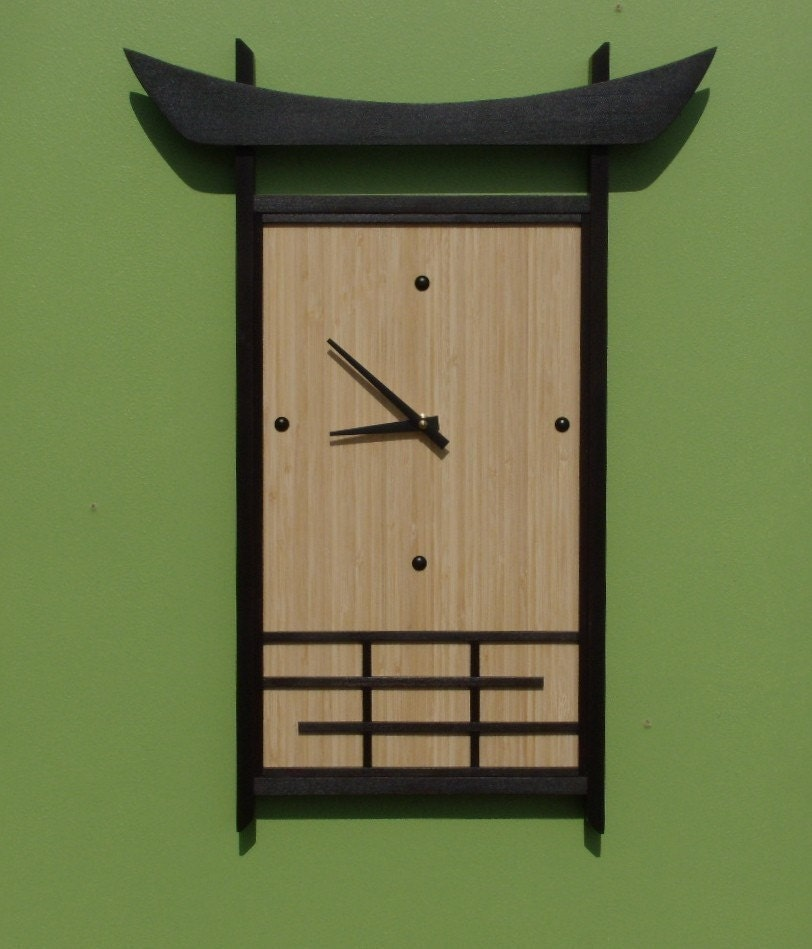 Japanese Style Bamboo Wall Clock Large Unique Clock