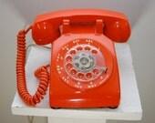 Vintage ORANGE Rotary Dial Telephone ITT Works Great