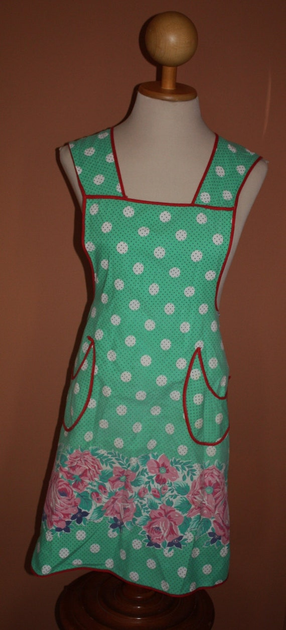 Vintage Bib Style Apron, 1940's Green Polka Dot with Roses