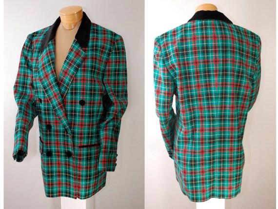 Vintage Women's Pendleton 80s Green Plaid Peacoat Style Blazer Jacket