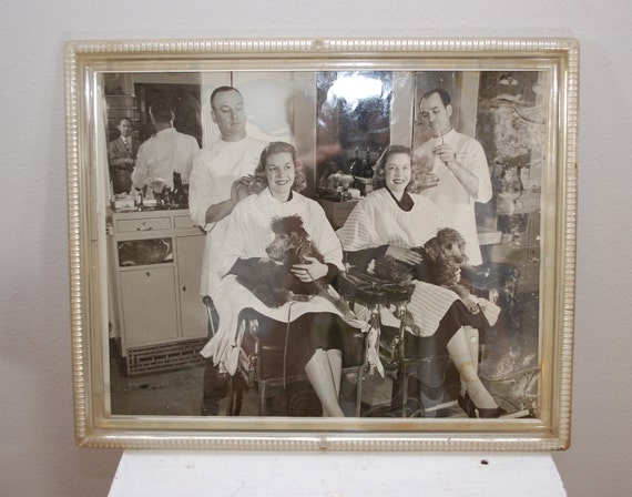 Vintage Haircut Twins with Poodles 1950's framed photo kitsch