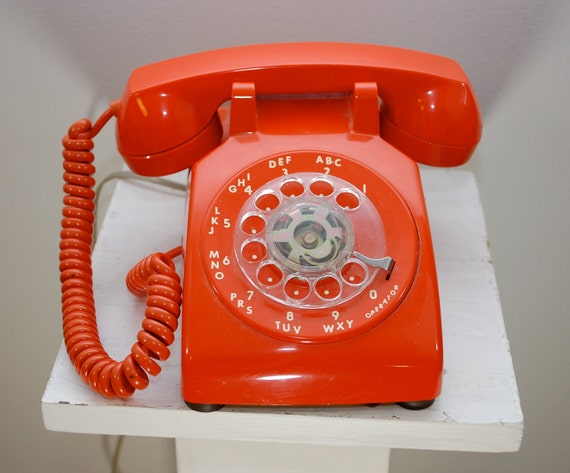 Vintage ORANGE Rotary Dial Telephone ITT Works Great