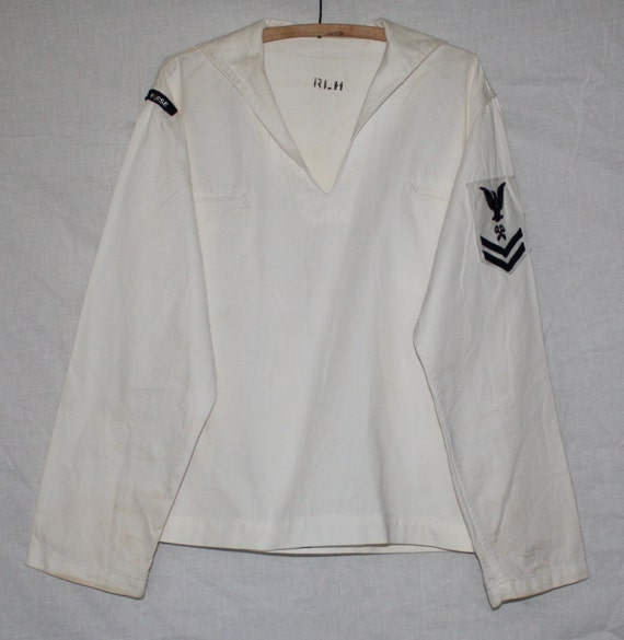 Vintage USA Navy White Middy Top with Arm Patches, 1960's