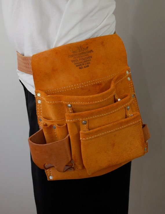 Vintage Custom LeatherCraft Tool Pouch and Belt Made in USA