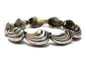 Machine Age Bracelet, 1930s Silver Scalloped Bracelet, Art Deco 1930s Couture Fashion Bracelet, Silver over Brass Shell Design Link Bracelet