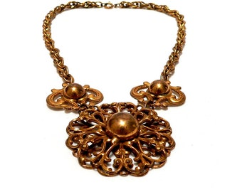Victorian Revival Necklace, German Gilded Brass Necklace, Filigree Metalwork Necklace, 1930s Art Deco Jewelry Gold Overlay, Bonnie and Clyde