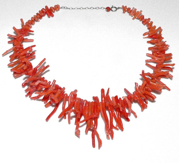 Antique Natural Red BRANCH CORAL Necklace - Graduated and Re-Strung - free shipping