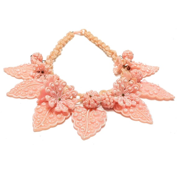 1930s Molded Pink Celluloid Plastic Leaves Necklace - free shipping