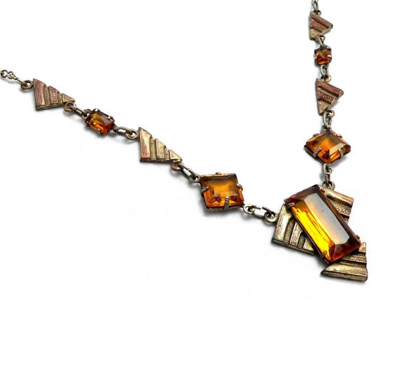 Art Deco Geometric Necklace Amber Unfoiled Glass on Brass 1920s