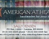 Custom Etsy Store business card, avatar, custom order and reserved listing graphics - RESERVED for American at Heart