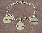 Mom and Grandma Charm Bracelet Hand Stamped Sterling Silver