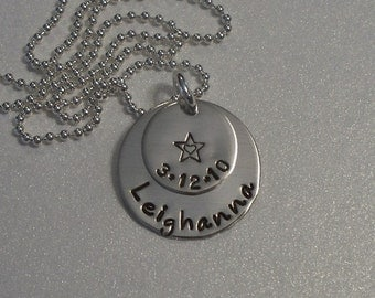 Mothers Personalized Hand Stamped Sterling Silver Overlapped Disc Necklace