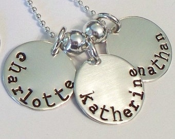 Triple Medium Disc Mother's Necklace