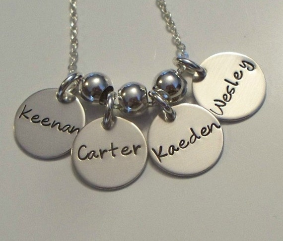 Personalized Hand Stamped Four Disc Necklace