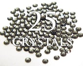 10ss Black Diamond Hot Fix Flat Back Swarovski Crystals - 25 pieces