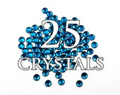 16ss Capri Blue Hot Fix Flat Back Swarovski Crystals - 25 pieces