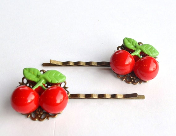 Very Cherry - Bobby Pin Set- Pinup Girl - Rockabilly - Retro Look- Red - Gifts Under 25