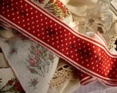 Red Roses and Red Stars  Very Vintage Prairrie Kitchen Handmade Ribbon