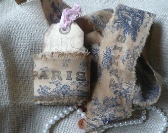 Vintage French Blue Toile Handmade Ribbon