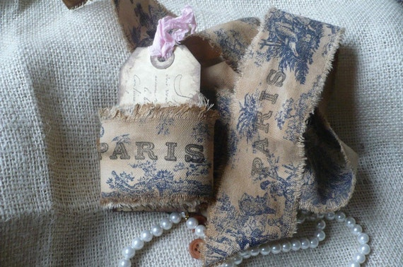 Vintage French Blue Toile Handmade Ribbon