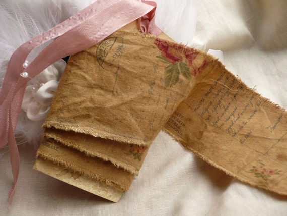 LAST ONE! So Old World and So Vintage Looking Handmade Distressed French Ribbon