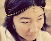 Empress brass chain headdress with coin and pearl, reversible