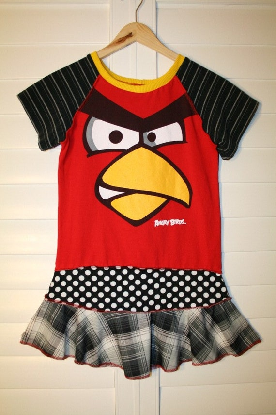 recycled upcycled repurposed pieced tshirt dress/tunic made out of ANGRY BIRDS  shirt size 7