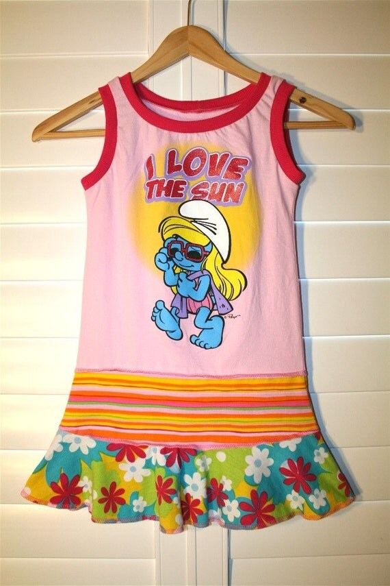 I LOVE THE SUN...made out of Smurf shirt.. recycled upcycled repurposed pieced tshirt dress/tunic size 4T