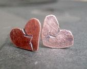 Broken Heart Copper Earrings