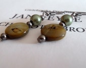 Forest Green Antique Silver Earrings