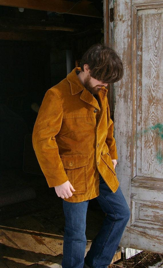 Corduroy Campus Burnt Orange Jacket Vintage 70s Mens Medium