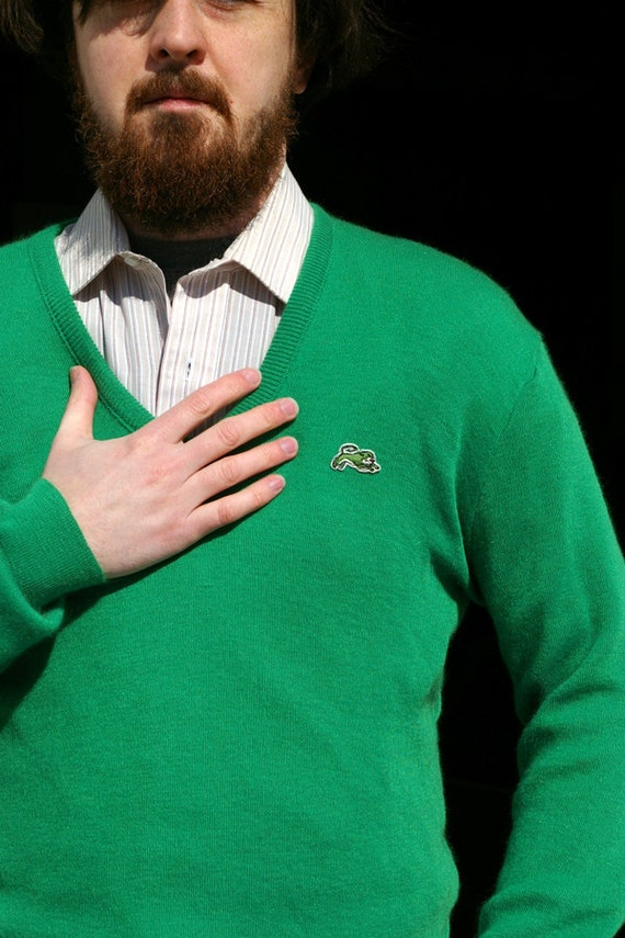 Garan Shamrock Green V Neck Sweater Vintage Mens Medium