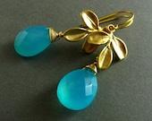 50% Off -  Aqua Chalcedony Drop Earrings
