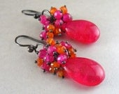 Hot Pink Quartz, Carnelian, Chalcedony and Oxidized Sterling Silver Cluster Earrings - Fruit Punch