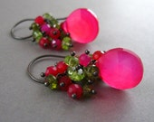 Sale - Hot Pink and Lime Green Cluster Earrings - Miami
