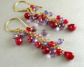 Sale- Ruby and Amethyst Gold Filled Wire Wrapped Dangle Earrings