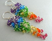 Reserved- Colorful Rainbow Sterling Silver Cluster Earrings - Rainbow Waterfall