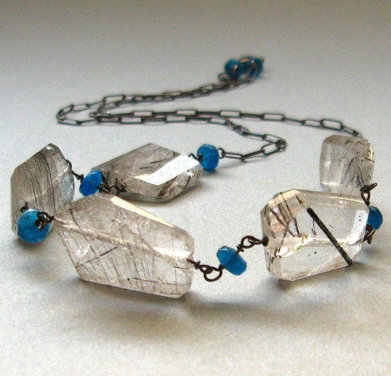Sale - Tourmalinated Quartz and Apatite Necklace