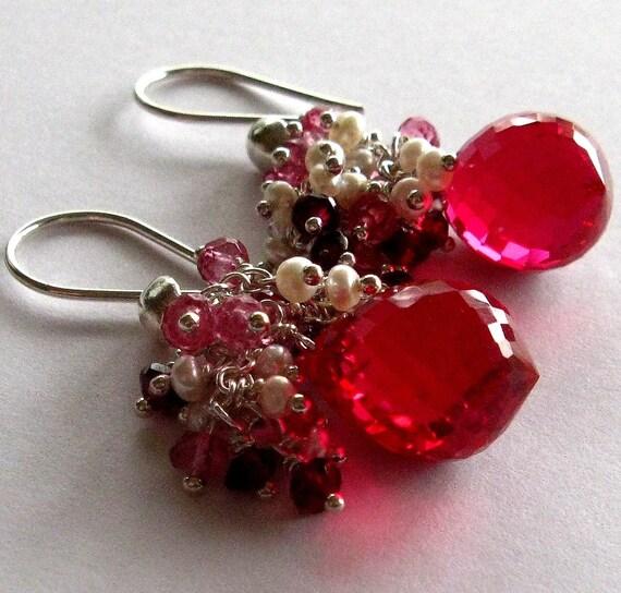 Red Topaz Pink Sapphire Rhodolite Garnet and Pearl Earrings
