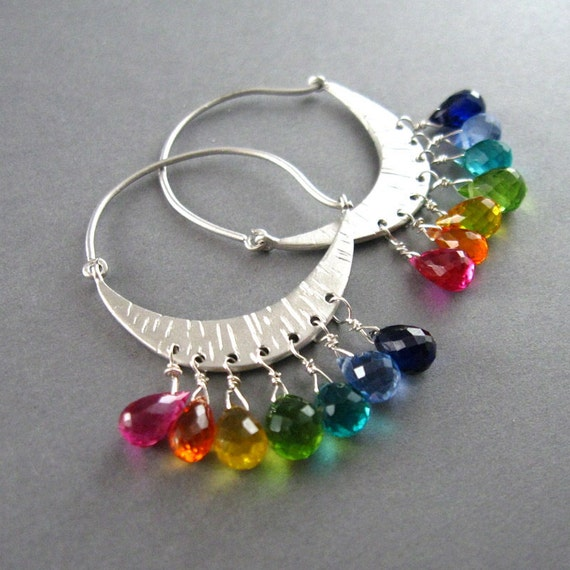 Rainbow Quartz Hoops