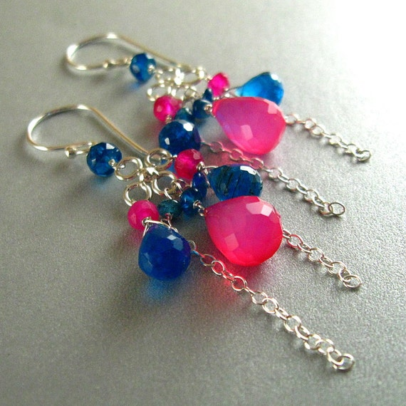 Sale - Hot Pink Chalcedony and Neon Apatite Sterling Earrings