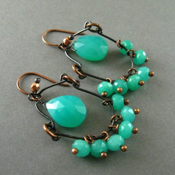Sale - Aqua Green Chalcedony, Sterling Silver and Copper Wire Wrapped Dangle Earrings