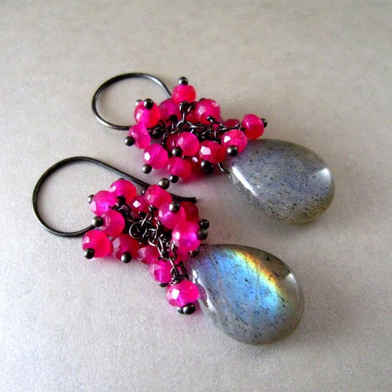 Labradorite and Pink Quartz Oxidized Sterling Silver Earrings