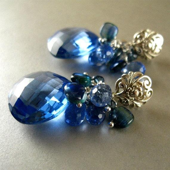 Blue Quartz, Kyanite and Topaz Gemstone Cluster Sterling Post  Earrings